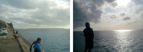 北大東の港と朝陽